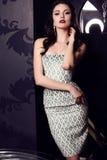 Gorgeous woman in elegant  dress posing in luxurious interior Royalty Free Stock Photo