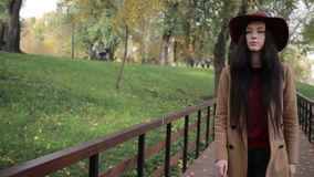 Gorgeous woman enjoying leisure in autumn park stock video