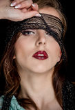 Gorgeous Woman Face with Makeup and Black Net Royalty Free Stock Photos