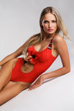 Gorgeous woman in fashionable red bikini Royalty Free Stock Images