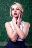 Gorgeous woman on green vintage interior Royalty Free Stock Photos