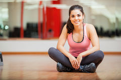 Gorgeous woman at a gym Royalty Free Stock Images