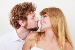 Gorgeous woman and handsome man kissing. Royalty Free Stock Image
