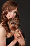 Gorgeous woman with her dog Royalty Free Stock Image