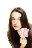 Gorgeous woman holding poker cards Royalty Free Stock Image