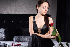 Gorgeous Woman Holding Red Rose Flower Stock Photos