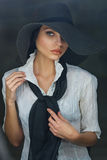 Gorgeous Woman In Black Hat Stock Photography