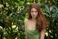 Gorgeous Woman In Green Royalty Free Stock Image