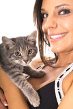 Gorgeous woman with kitty Royalty Free Stock Photos