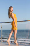 A gorgeous woman with long light brown hair on a hotel balcony on a background blue sea. The lady in a dress with high heels. A charming woman is posing on a stock photo