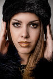 Gorgeous Woman with Make up in Winter Fashion Royalty Free Stock Photography