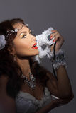 Gorgeous woman in masquerade mask Stock Photography