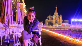 gorgeous woman at night, moscow city Stock Images