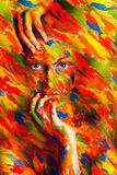 Gorgeous woman in paint strokes Stock Photos