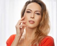 Gorgeous woman with perfect skin and make up stock photography