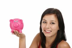 Gorgeous Woman with Piggy Bank Stock Photo