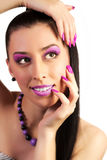 Gorgeous woman with pink make-up. Beautiful young woman with pink make-up Stock Photo