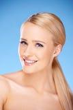 Gorgeous woman portrait on blue Stock Images