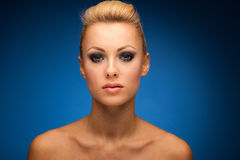 Gorgeous woman portrait with perfect makeup, smokey eyes, full l Stock Photo