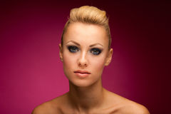 Gorgeous woman portrait with perfect makeup, smokey eyes, full l Stock Images