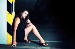 Gorgeous woman posing in underground garage Royalty Free Stock Photo