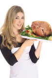 Gorgeous Woman Serving A Ham Stock Photography