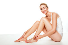 Gorgeous woman with sexy long legs Stock Photos