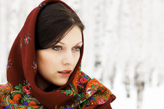 Gorgeous woman in shawl. Gorgeous woman in shawl on her head Stock Photography
