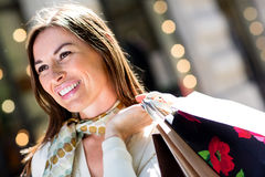 Gorgeous woman shopping Royalty Free Stock Photography