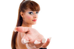 Gorgeous woman showing questioning gesture Royalty Free Stock Image