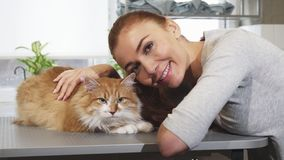 Gorgeous woman smiling posing with her cat at the vet office. Stunning beautiful young woman petting her gorgeous ginger cat at the vet clinic smiling to the royalty free stock photo