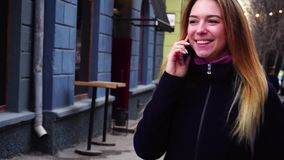 Female got wonderful new from college by phone call. stock video footage