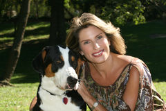 Gorgeous Woman with Swiss Mountain Dog Stock Images