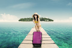 Gorgeous woman in vacation Stock Images