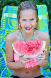 Gorgeous woman with watermelon slice Royalty Free Stock Images
