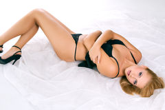 Gorgeous woman wearing erotic black lingerie Stock Image