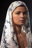Gorgeous woman wearing a headscarf stock photo
