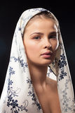 Gorgeous woman wearing a headscarf royalty free stock photo