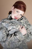 Gorgeous Woman wearing Military Jacket Royalty Free Stock Photo