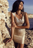 Gorgeous woman wears elegant gold dress with accessories Royalty Free Stock Image