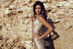 Gorgeous woman wears elegant gold dress with accessories Royalty Free Stock Photos