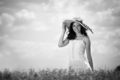 Gorgeous woman in wheat field Stock Image