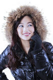 Gorgeous woman with winter jacket Stock Images