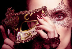 Gorgeous Woman With Mask In Marsala Colors Royalty Free Stock Photography