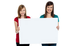 Gorgeous women presenting blank ad board Stock Images