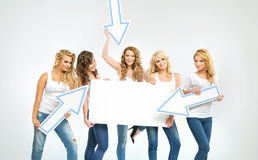 Gorgeous women promoting the sale Stock Image