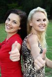 Gorgeous Women Showing Thumbs Up Stock Photography