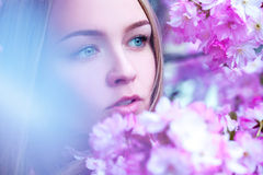 Gorgeous young blond with blue eyes looking away in blooming pin Royalty Free Stock Images