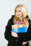 Gorgeous young blond student girl. Stock Photos