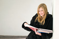 Gorgeous young blond student girl. Stock Photo